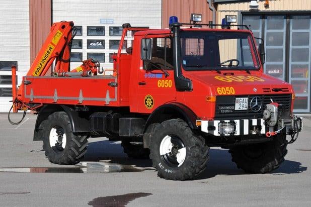 2 26-6050 Terrängfordon MB Unimog 1300L – 1986 Påbyggare: Flodaverken Övrigt: Gävleborgs enda fordon med kran inom räddningstjänsten.